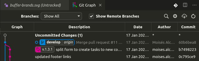 captura de uso de Git Graph