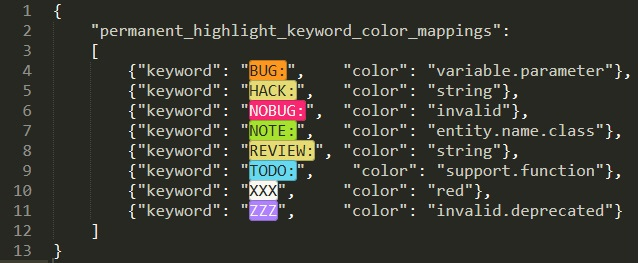 keywords y colores en la configuración de HighlightWords